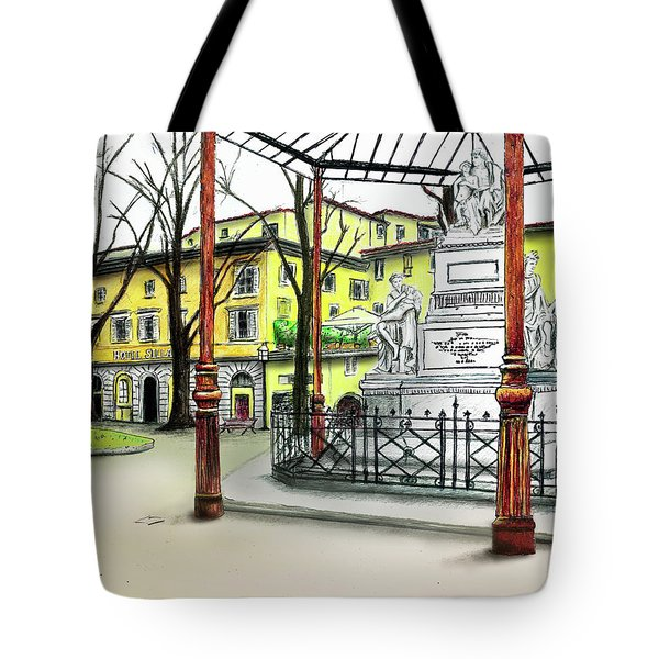 Tote Bag featuring the painting Silla Hotel Piazza Demidoff Florence by Albert Puskaric