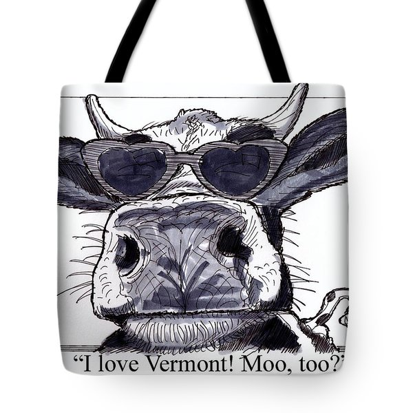 Tote Bag featuring the drawing Silly Cow From Vermont by Richard Wambach