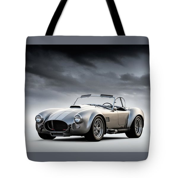 Tote Bag featuring the digital art Silver Ac Cobra by Douglas Pittman