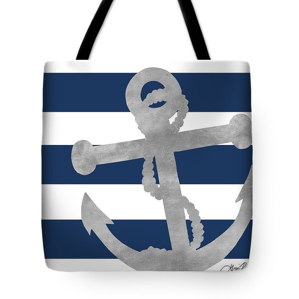 Silver Coastal On Blue Stripe I Tote Bag
