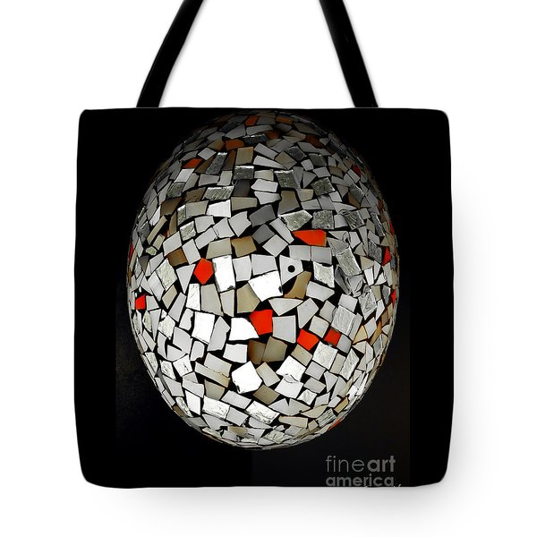 Tote Bag featuring the digital art Silver Egg by Eleni Mac Synodinos