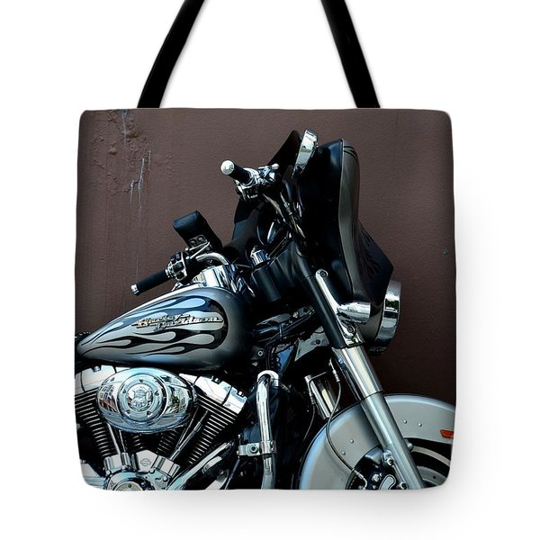 Tote Bag featuring the photograph Silver Harley Motorcycle by Imran Ahmed