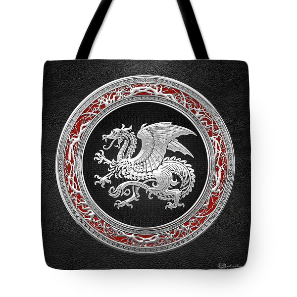 Silver Icelandic Dragon  Tote Bag
