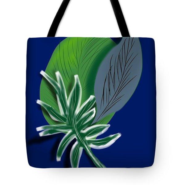 Tote Bag featuring the digital art Silver Leaf And Fern II by Christine Fournier
