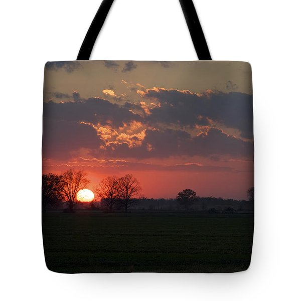 Silver Lining - Red Sunset Art Print Tote Bag