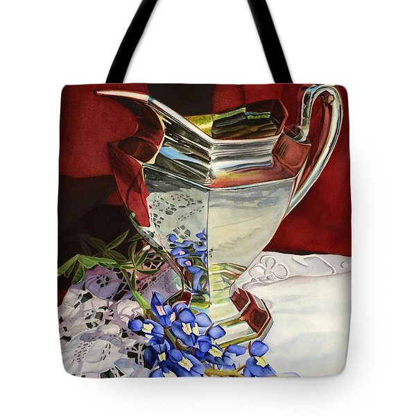 Silver Pitcher And Bluebonnet Tote Bag