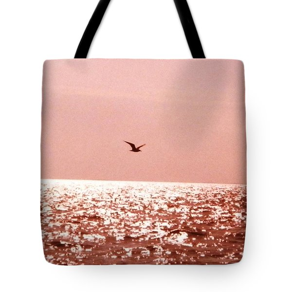 Tote Bag featuring the photograph Silvery Seagull Solo Flight by Belinda Lee