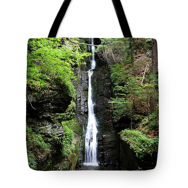 Tote Bag featuring the photograph Silver Thread Falls by Trina  Ansel