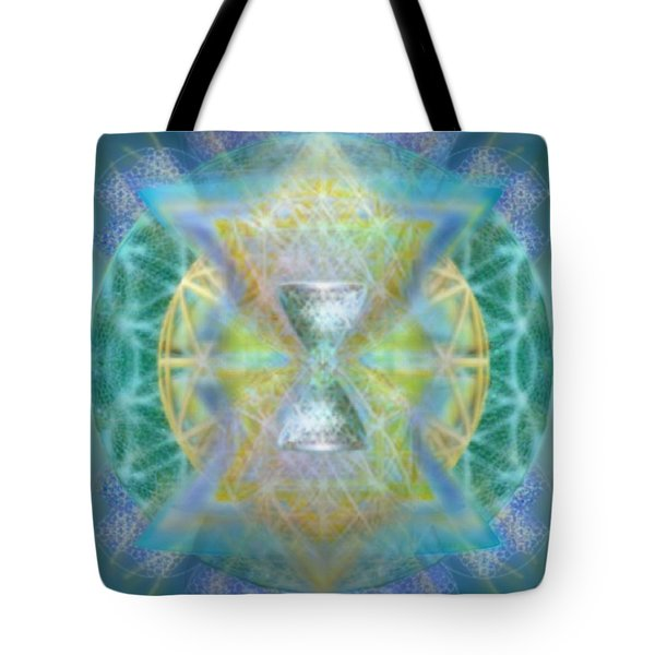 Silver Torquoise Chalicell Ring Flower Of Life Matrix Tote Bag