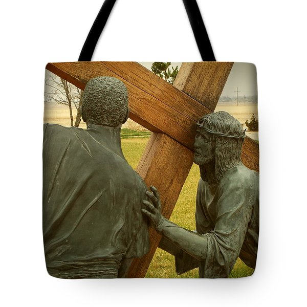 Simon Helps Jesus Carry His Cross Tote Bag