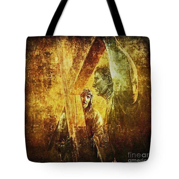 Simon Helps Jesus Via Dolorosa 5 Tote Bag