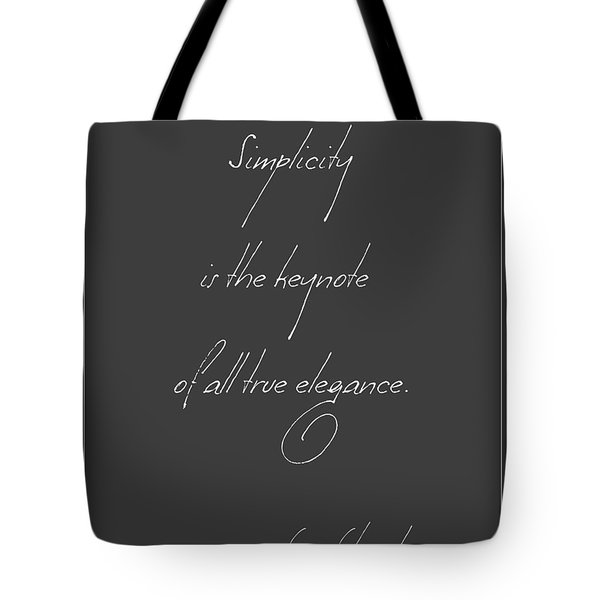 Simplicity And Elegance Tote Bag