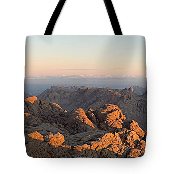Tote Bag featuring the pyrography Sinai Mountains Just After Sunrise by Julis Simo