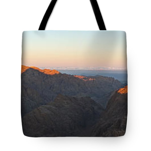Tote Bag featuring the pyrography Sinai View From St. Catherine Montain On Sunrise by Julis Simo