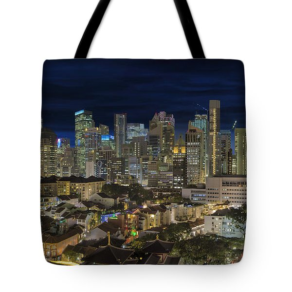 Singapore Central Business District Skyline And Chinatown At Dus Tote Bag by David Gn