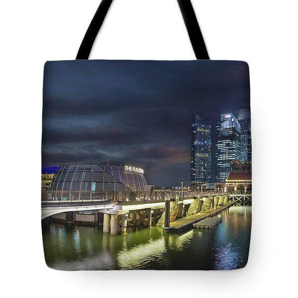 Singapore City By The Fullerton Pavilion At Night Tote Bag by David Gn