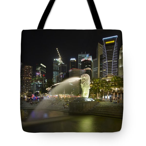 Singapore City Skyline At Merlion Park Tote Bag by David Gn