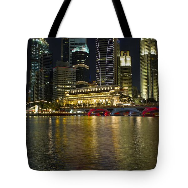 Singapore City Skyline At Night Tote Bag by David Gn