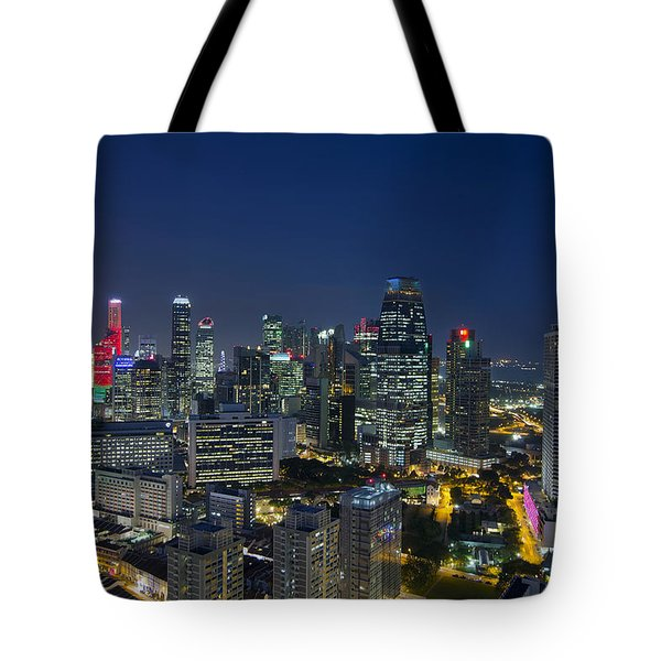 Singapore Cityscape At Blue Hour Tote Bag by David Gn