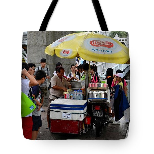 Singapore Ice Cream Man And Bicycle Swamped By Students Tote Bag by Imran Ahmed