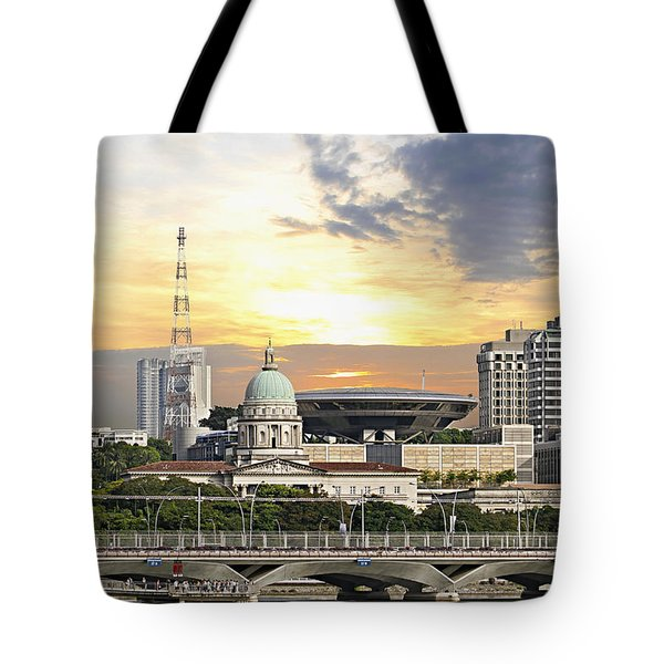 Singapore Parliament Building And Supreme Law Court  Tote Bag by David Gn