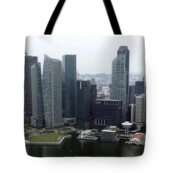Tote Bag featuring the photograph Singapore Skyline by Shoal Hollingsworth