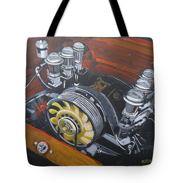 Tote Bag featuring the painting Singer Porsche Engine by Richard Le Page
