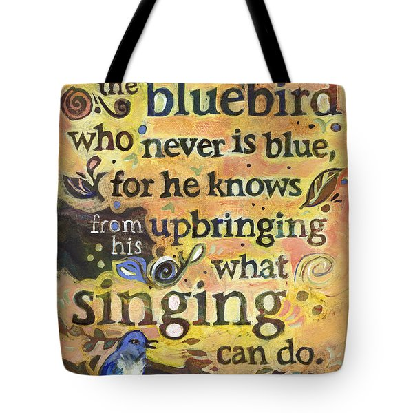 Singing Bluebird Cole Porter Painted Quote Tote Bag