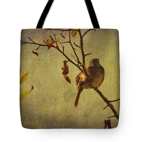 Tote Bag featuring the photograph Singing Sparrow by Peggy Collins