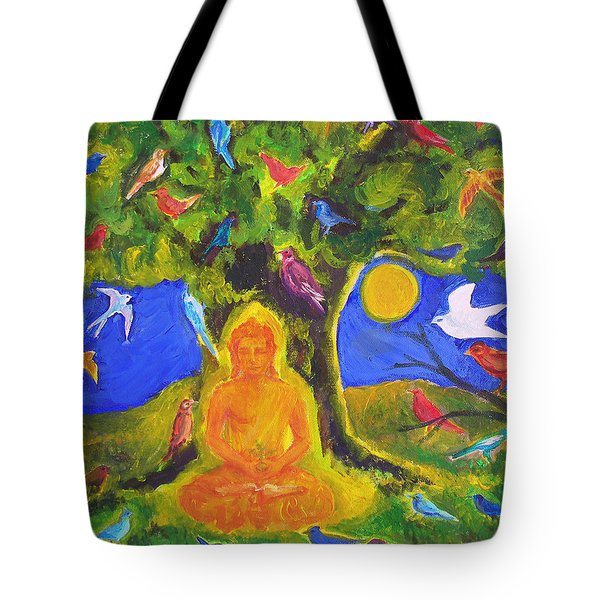 Buddha And The Birds Tote Bag