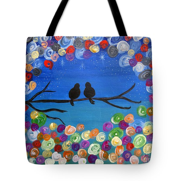 Singing To The Stars Tree Bird Art Painting Print Tote Bag