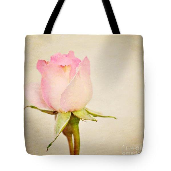 Single Baby Pink Rose Tote Bag by Lyn Randle