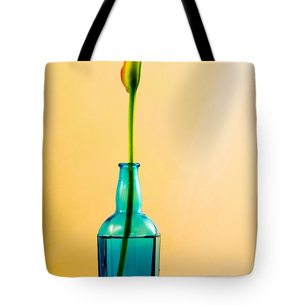 Tote Bag featuring the photograph Single Calla In Blue Bottle by Richard J Thompson
