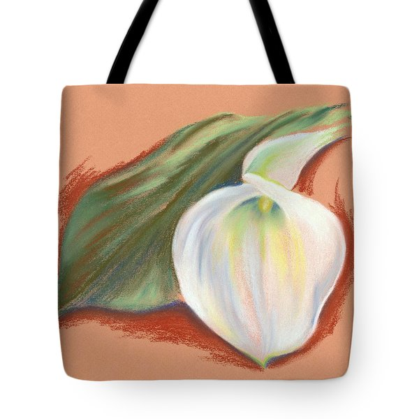 Single Calla Lily And Leaf Tote Bag