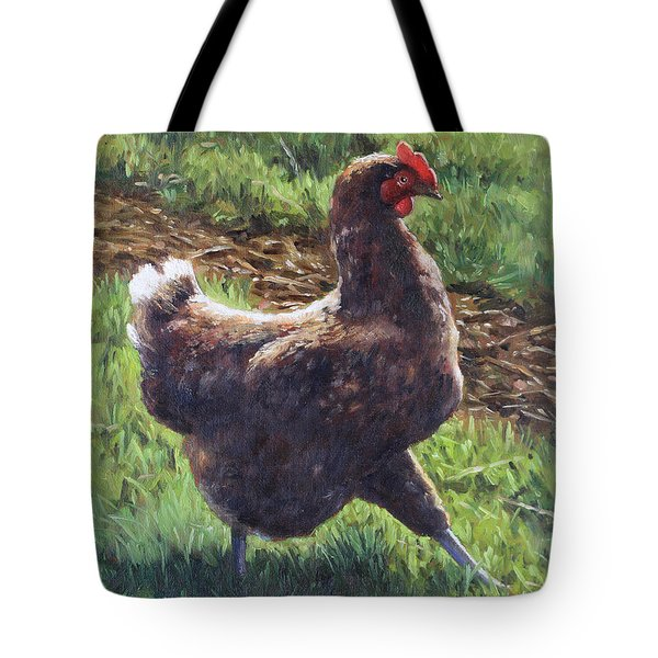 Single Chicken Walking Around On Grass Tote Bag
