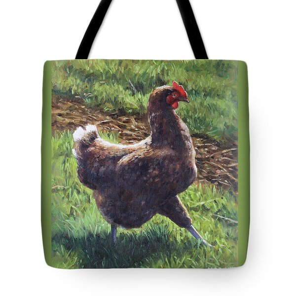 Single Chicken Walking Around On Grass Tote Bag by Martin Davey