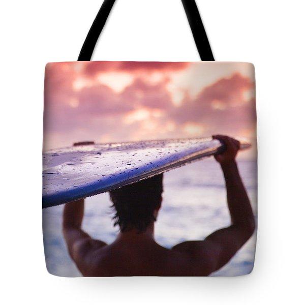 Single Fin Surfer Tote Bag