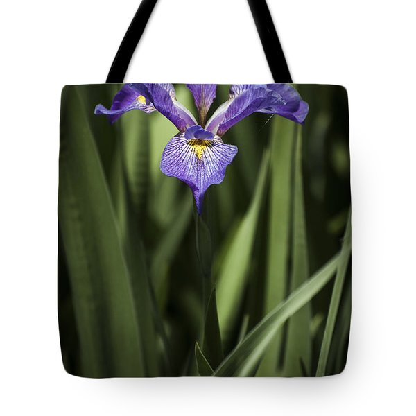 Tote Bag featuring the photograph Single Iris by Penny Lisowski