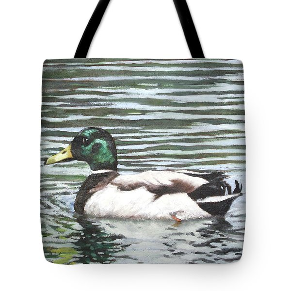 Single Mallard Duck In Water Tote Bag by Martin Davey