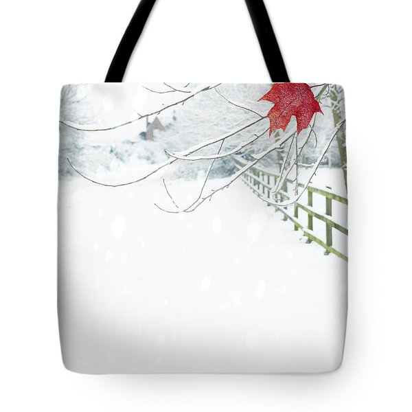 Single Red Leaf Tote Bag