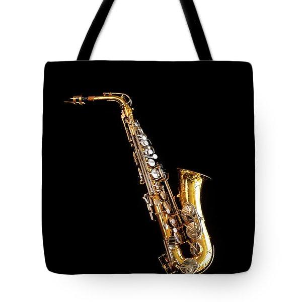 Single Saxophone Against Black Tote Bag