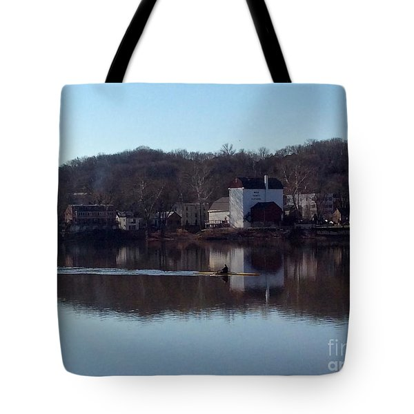 Single Scull On The Delaware Tote Bag