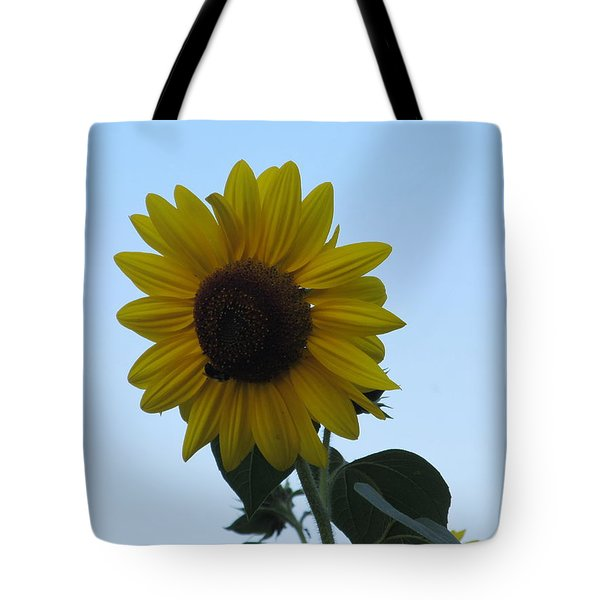 Tote Bag featuring the photograph Single Sunflower And The Bees by Tina M Wenger