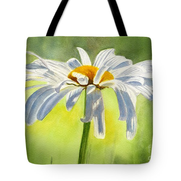Single White Daisy Blossom Tote Bag