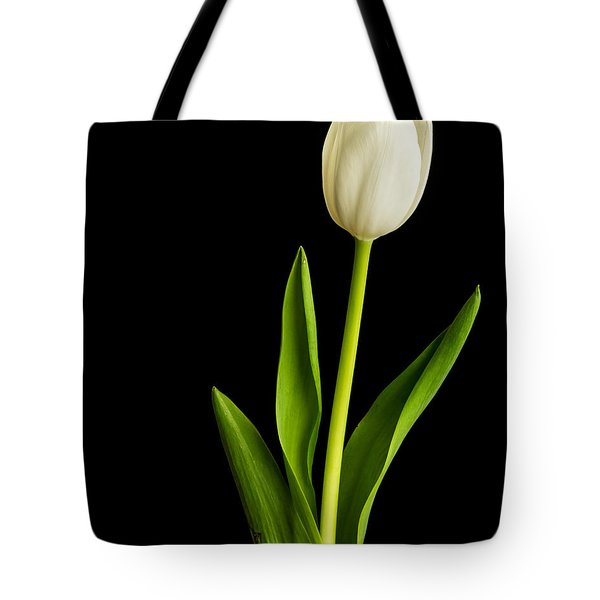 Single White Tulip Over Black Tote Bag by Edward Fielding
