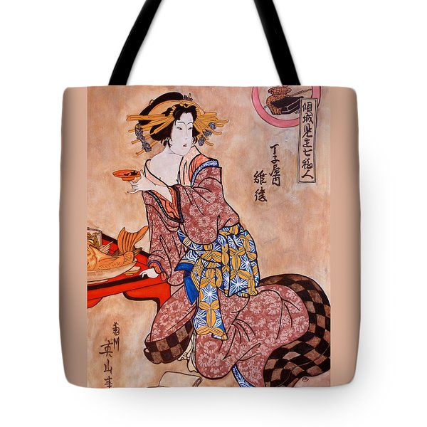 Tote Bag featuring the painting Sipping Sondra by Tom Roderick