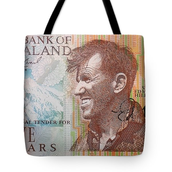 Sir Edmund Hillary Signed Banknote Tote Bag