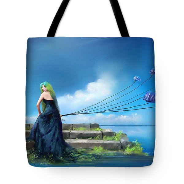 Tote Bag featuring the painting Sirens Lure by S G