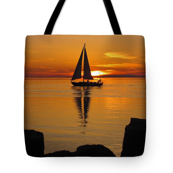 Sister Bay Sunset Sail 2 Tote Bag