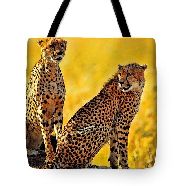 Sister Cheetahs Tote Bag